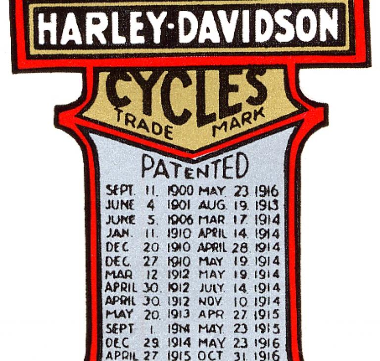 Harley-Davidson transfers med patentnumr...